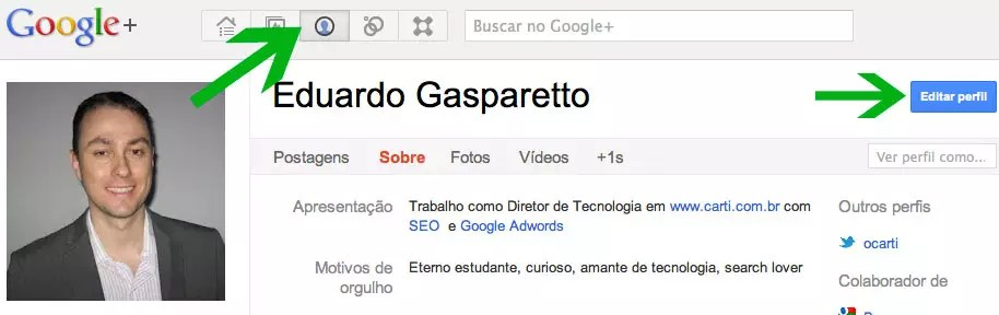 Editar perfil no Google Plus