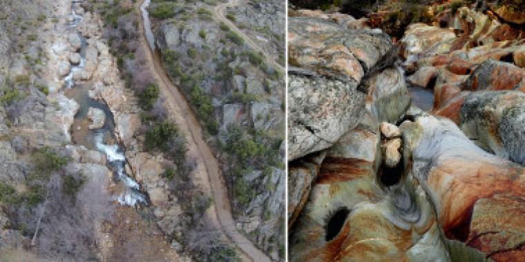 <p>Fotografía aérea del río Truchillas (municipio de Truchas, León) y detalle de sus rocas volcánicas. / J. Fernández Lozano et al.</p>