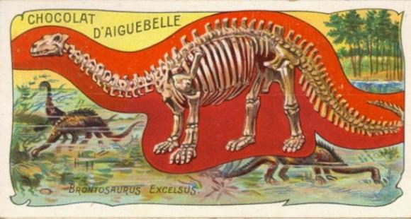 Restauración histórica de cómo se imaginaron al 'Brontosaurus' a finales de 1800: acuático y con un gran y robusto cráneo. / Artista desconocido (sin derechos de autor)