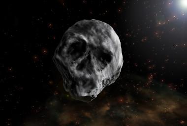 """<p>Ilustración del asteroide 2015 TB<sub>145 </sub>o de Halloween, que se parece a una calavera humana bajo determinadas condiciones de iluminación. /<a href=""""http://www.agenciasinc.es/Multimedia/Ilustraciones/El-asteroide-que-recuerda-a-una-calavera"""" target=""""_blank"""">José Antonio Peñas/SINC</a></p>"""