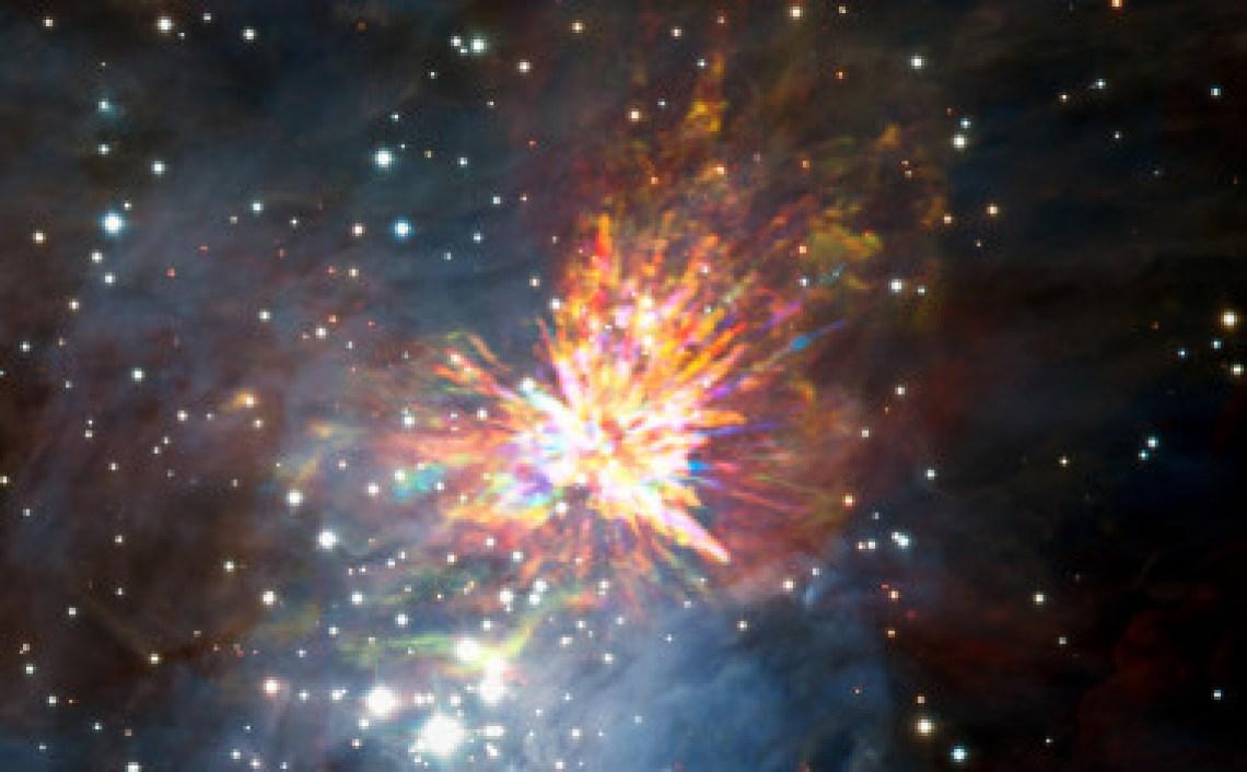 <p>Explosión estelar en Orión detectada con los datos deALMA, aunque la fotografía tambiénincluye imágenes del infrarrojo cercano captadas con los telescopios Gemini Sur y VLT del Observatorio Europeo Austral. /ALMA (ESO/NAOJ/NRAO), J. Bally/H. Drass et al.</p>