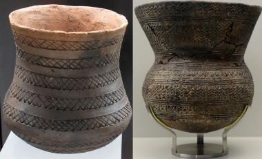 <p>Vasos campaniformes de Los Millares, en el Museo de Almería, y de La Rambla, en el Museo de Córdoba. / R. Risch</p>