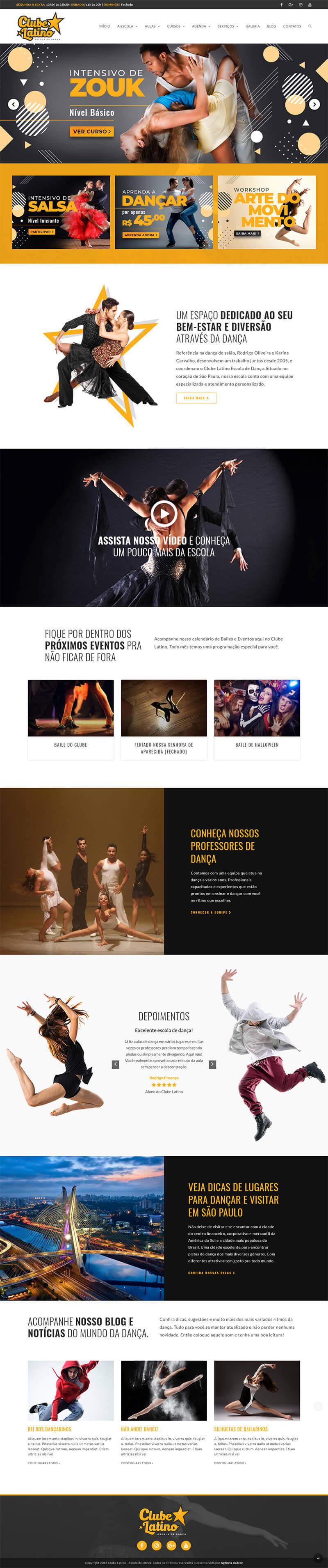 Página inicial do site responsivo Clube latino