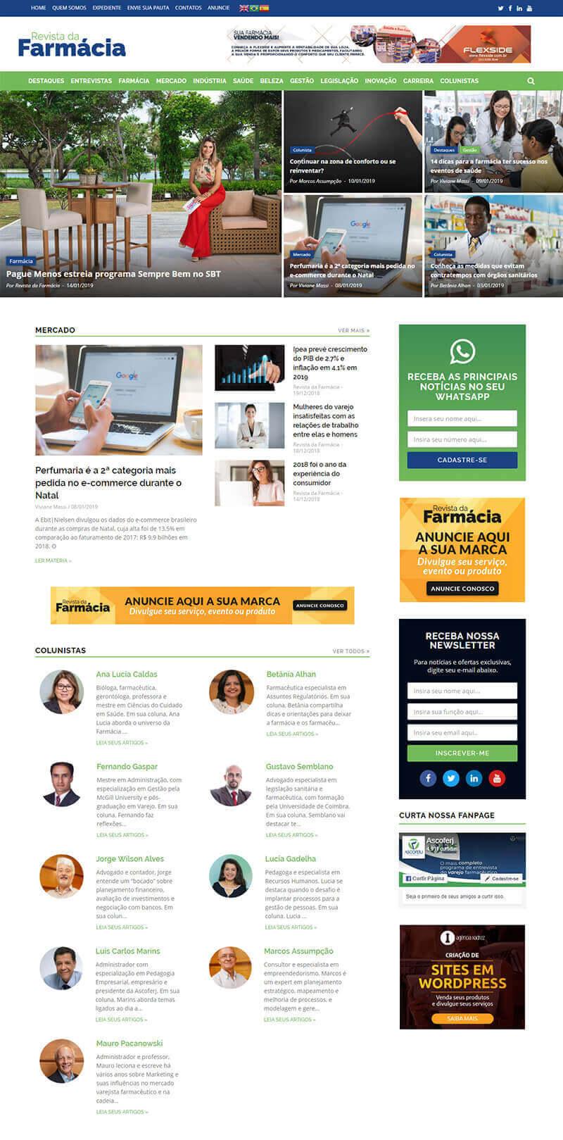 Tela mostrando a página inicial do site Revista da Farmácia