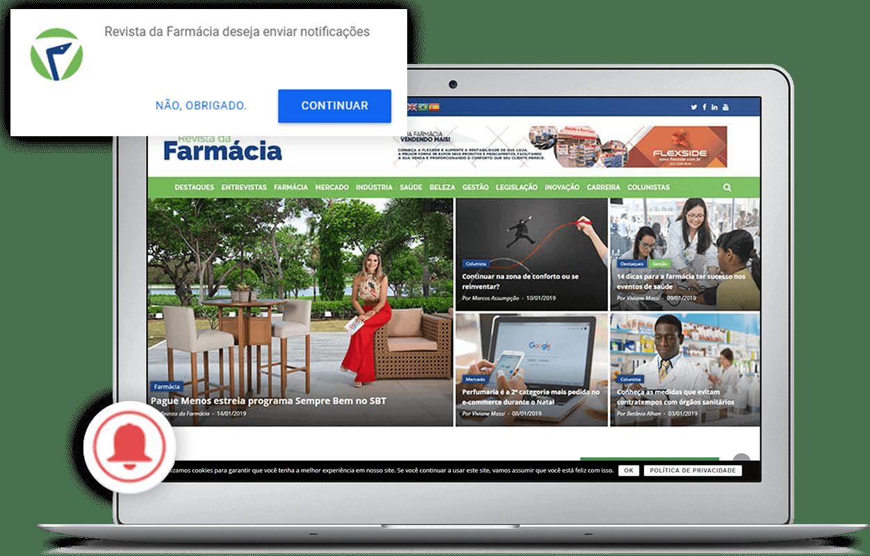 Tela mostrando o sistema de notificações do portal Revista da Farmácia