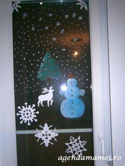 geam pictat craciun si revelion