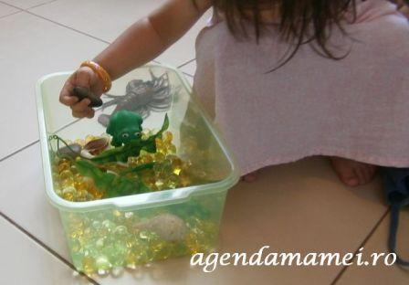 mediu acvatic sensory bin