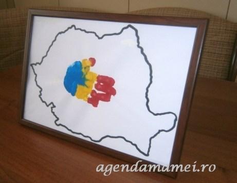drapel Romania amprenta manuta