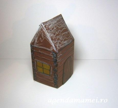 craft din carton casuta lemn cu zapada