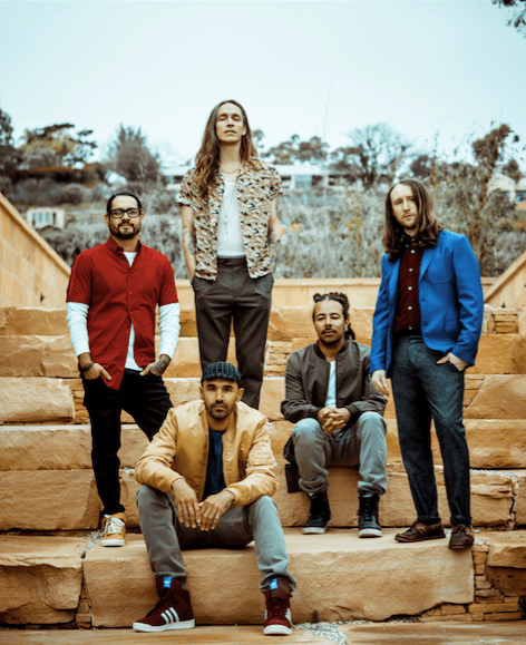 Incubus approved pic - band sitting on steps - bja