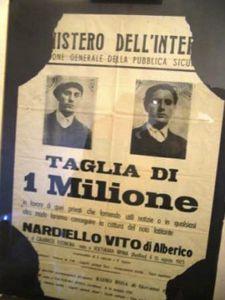 Taglia di un milione di lire per catturare Vito Nardiello