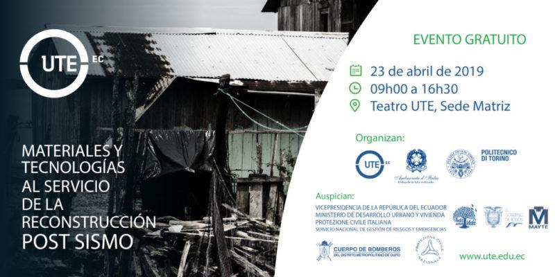 Sisma Equador 2016 – Seminario ricostruzione post sisma.