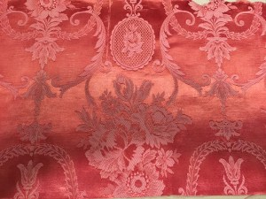 Pink Damask fabric with neoclassical motifs