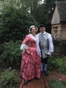 In the garden at Depreciation Lands Museum, Hampton Township PA with my husband Bill in his silver brocade waistcoat.