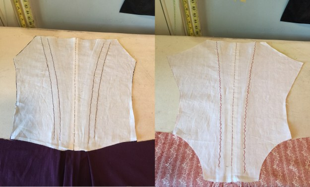Inside of gowns with pleats done.