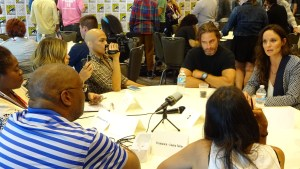 "Josh Holloway and Sarah Wayne Callies discuss USA's ""Colony at SDCC 2015. Photo by David Sanchez"