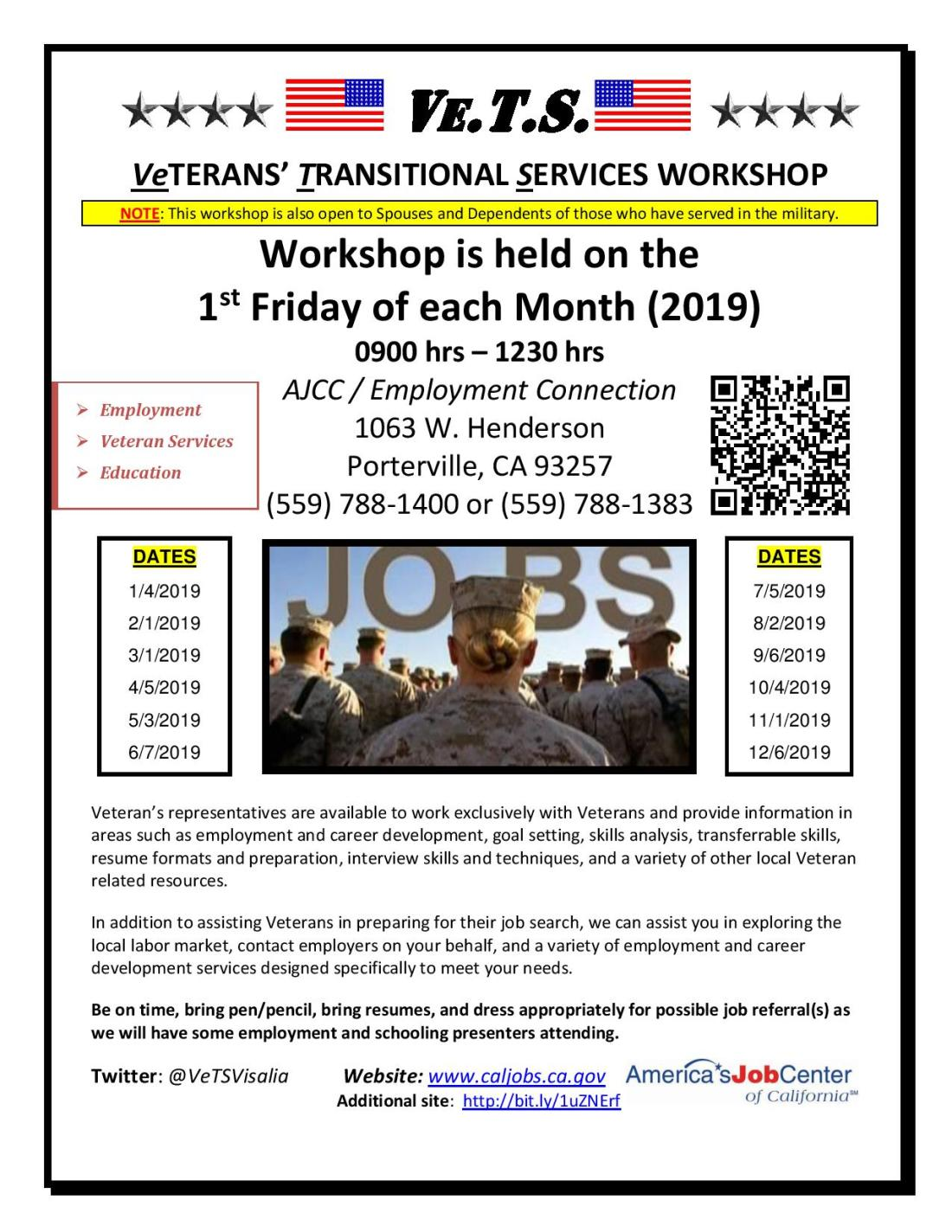2019 Porterville Veterans transitional workshop