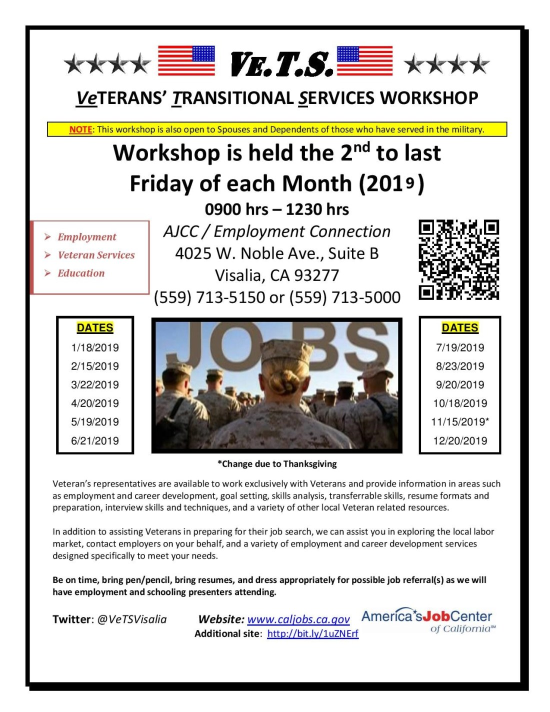 Visalia Veterans Transitional Services Workshop