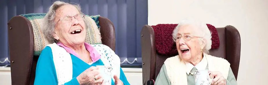 ageing better with 2 elderly ladies laughing together