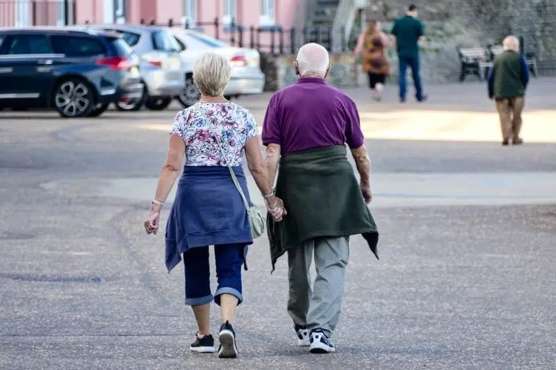 older couple walking for exercise