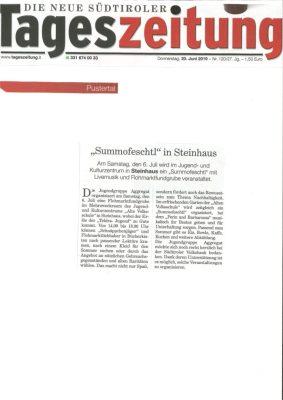 Tageszeitung_Summofeschtl in Steinhaus_20.06.19