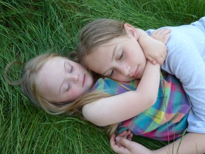 Daydreaming with my little sister,Magdalena in the garden. 2012