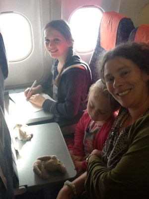 Agi K and Magdalena on the aeroplane with mum