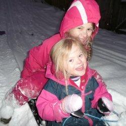 Agi and Magdalena sledging