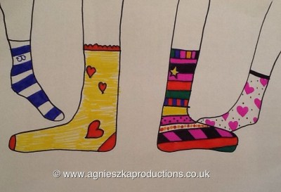 Drawing by Agi K of different socks for World Down's syndrome day