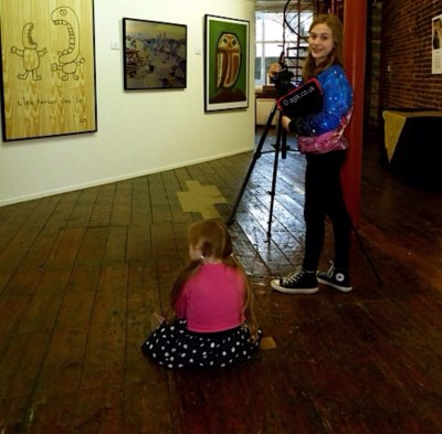 Agi K (with Magdalena) Setting up to film before the artists arrive.