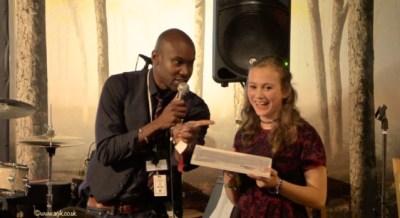 Trevor presenting Agi K with the IYAF Under 17 production award