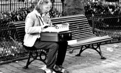 senior woman typing
