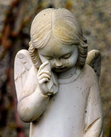 crying angel sculpture