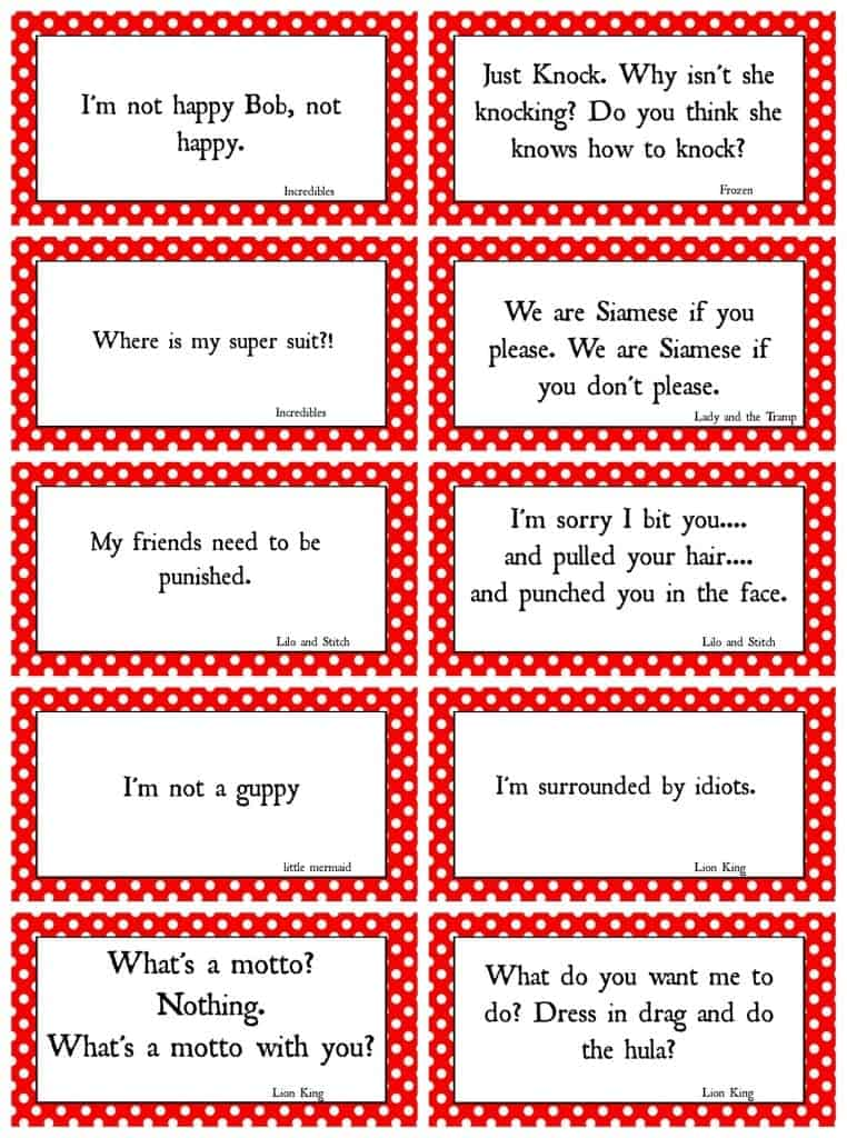 Disney Movie Quotes Game With Free Printables A Girl