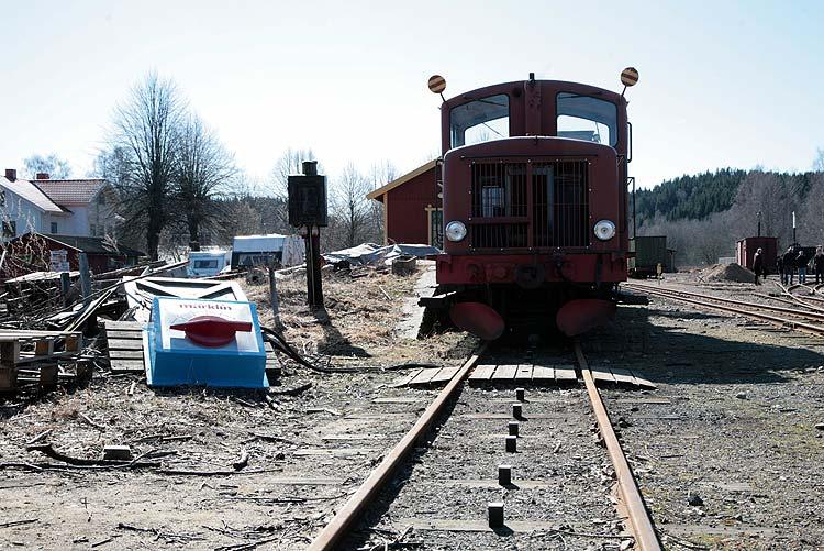 Föreningens brandtåg. Brandfinkan, tankvagnen och dragen av HBA 2. Foto: Patrik Engberg