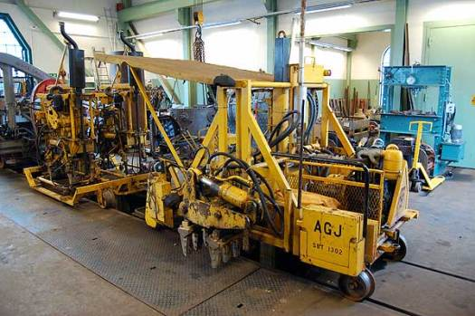 Slipersbytaren och stoppmaskinen i verkstaden för översyn. Foto: Patrik Engberg