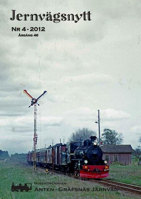 Jernvägsnytt 4-2012. VGJ nr 31 med tåg passerar T-semaforen i Gendalen. Fotot har troligen tagits den 12 maj 1968 i samband med utfärden på f.d. TNJ och visar tåget på sin väg tillbaka till Sjövik. Foto: Björn Malmer