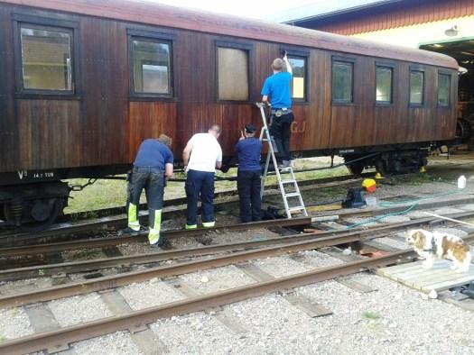 Tvätt av vagn 22. Foto: Lars Johansson