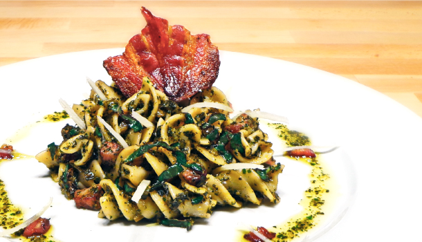 Fusilli with Black Kale and Smoked Pancetta