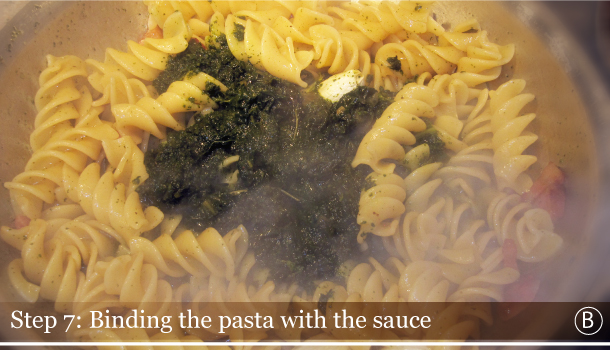 STEP 7B - Binding the pasta with sauce - Fusilli with Black kale and Smoked Pancetta