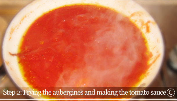 Parmigiana di Melanzane - Aubergine Parmigiana Pie - How to - step 2C - Frying the aubergines and making the tomato sauce