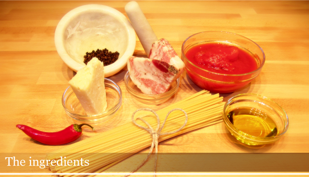 The ingredients for bucatini with Matriciana Sauce