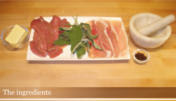 Veal roman escalopes with Parma Ham and sage - the Ingredients