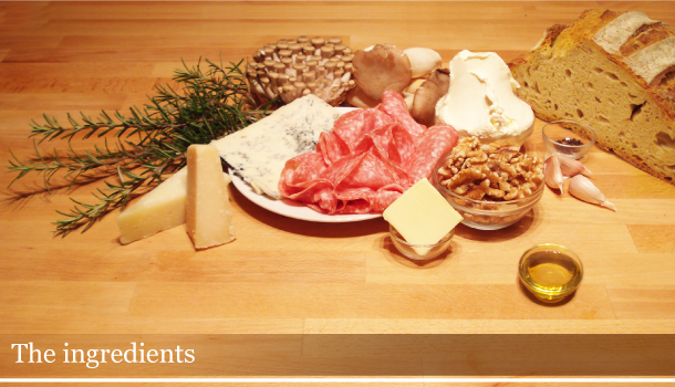 Crostini Christmas-trio: the ingredients