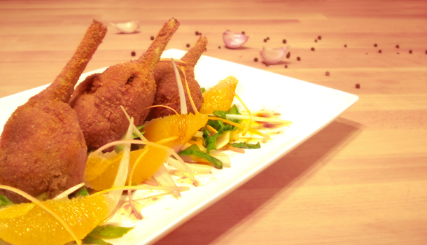 Stuffed deep-fried drumsticks