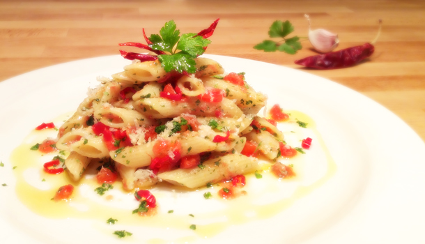 """Penne with Arrabbiata spicy hot sauce"" recipe - ""Penne all'Arrabbiata"""
