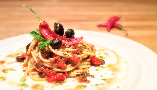 """""""Spaghetti alla Puttanesca"""" recipe - """"Strumpet's way Spaghetti"""""""