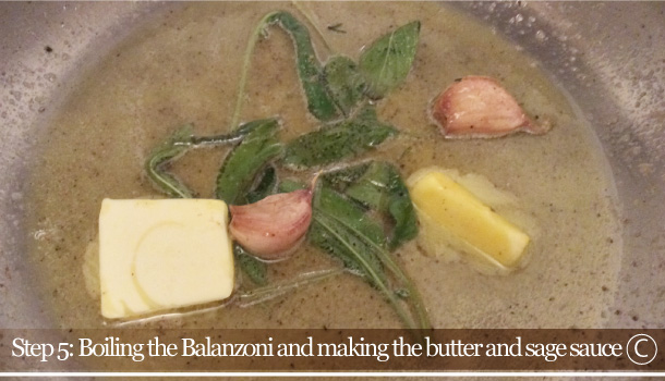 """Balanzoni: green ravioli with butter and sage"" recipe - ""Balanzoni al Burro e Salvia"""
