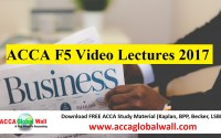 ACCA F5 Video Lectures 2017
