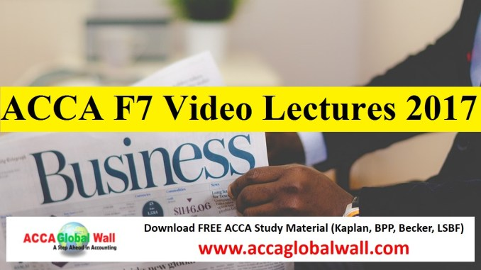 ACCA F7 Video Lectures 2017
